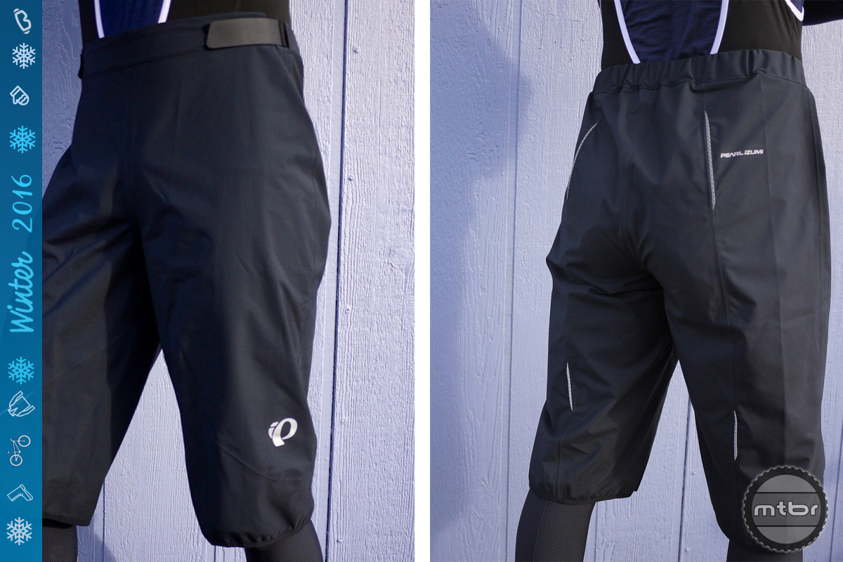 Rain shorts such as the Pearl Izumi MTB WxB  strike a happy medium between rain pants and going without a waterproof/windproof layer.