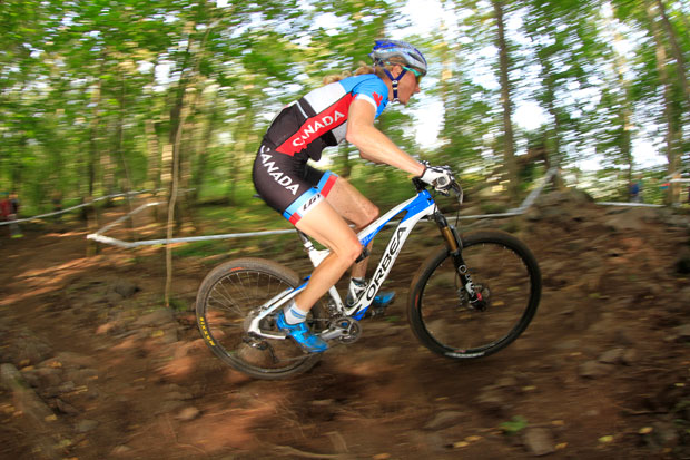 Catharine Pendrel riding her Orbea Oiz on the WC Circuit. Photo by Fred Machabert