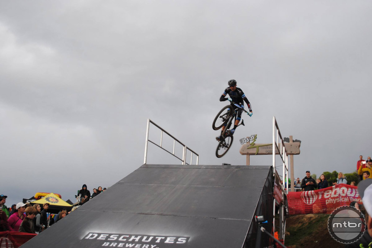 A racer gives a crowd-pleasing performance in the Timberline Homes Big Air contest.