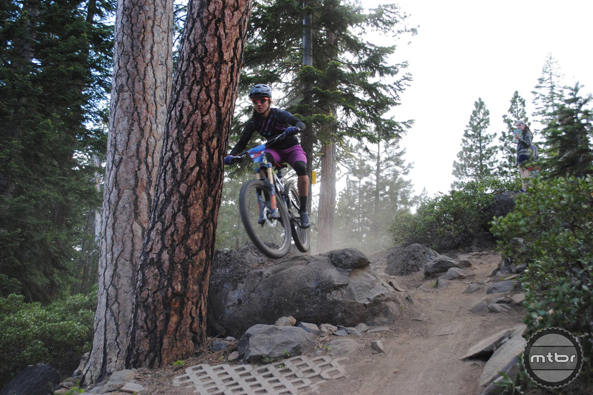 Local pro enduro racer Carolynn Romaine makes her way down Bend's Funner trail in style.