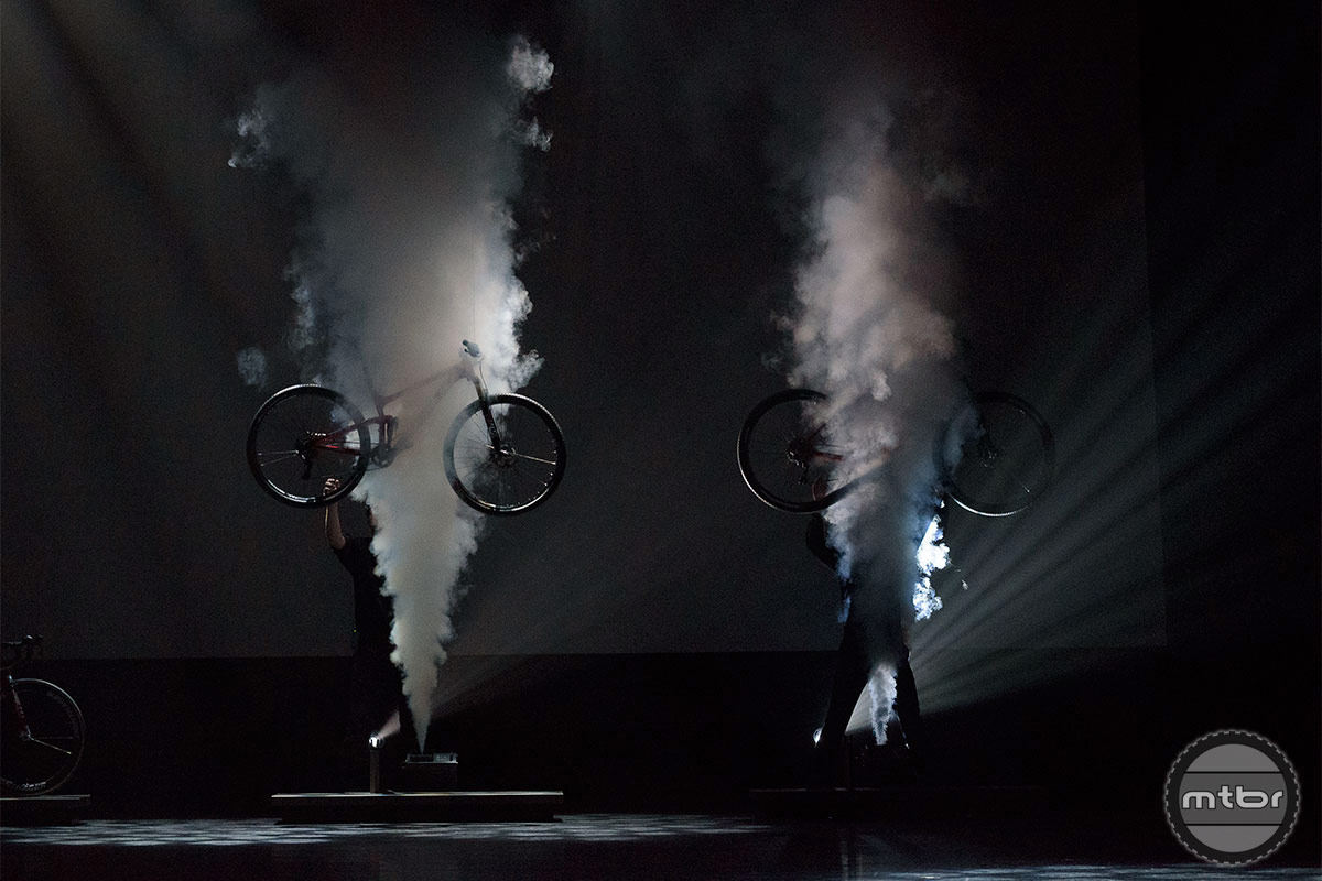 Smoke rises as the new Trek models come down from the skies. Photo by Jeroen Tiggelman