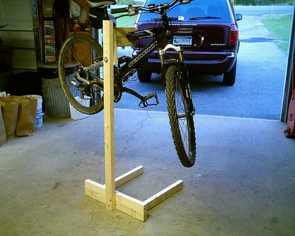 Homemade pvc bicycle repair stand homemade ftempo for Diy mountain shelf plans