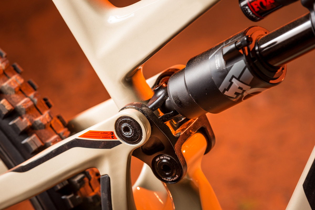The Fox X2 rear shock is efficiently tucked in to utilize the available space well.