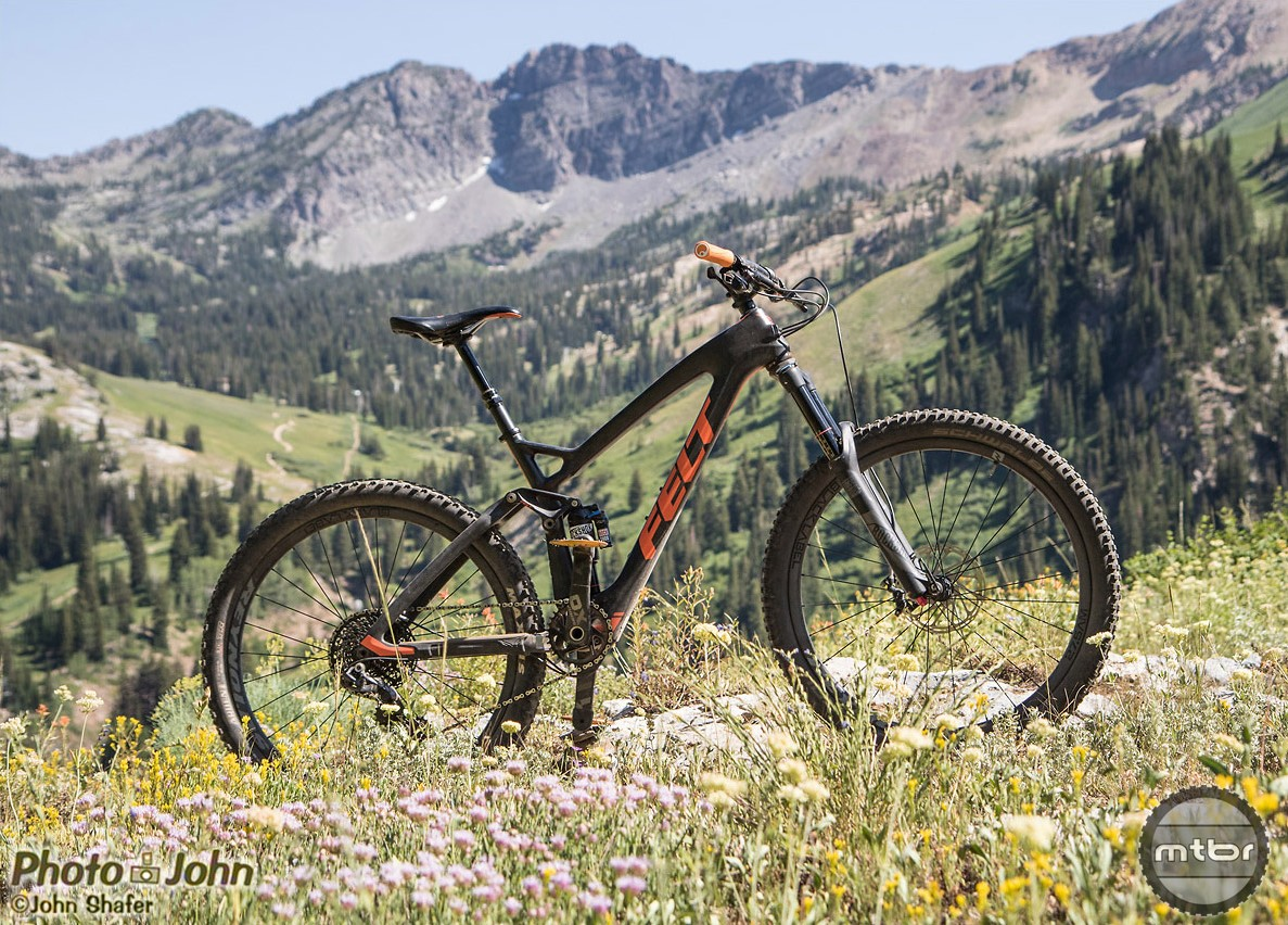 The Felt Decree 1 is a 140mm carbon trail bike (140 rear/150 front) with low, slack geometry that weighs just 25.5 pounds, out of the box. This is a glamour shot of my personal bike in the Wasatch Mountains, above my home in Salt Lake City, Utah.