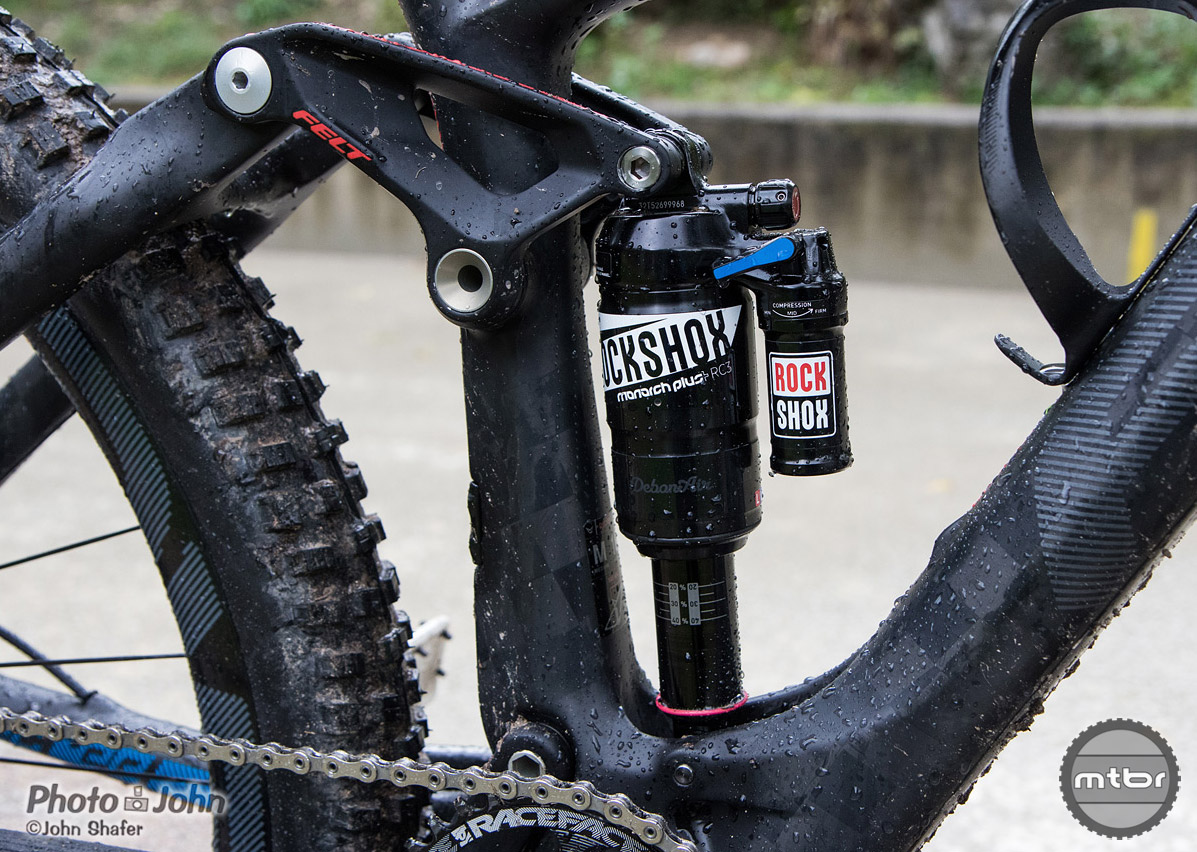 RockShox Monarch Plus rear shock on the Felt Decree trail bike.