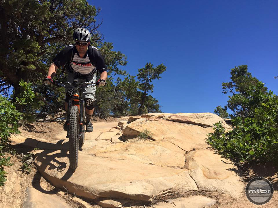 """The Pony Rustler was the bike for #wholeenchilada last week. 120mm of travel and 3"""" of 27.5+ tires made picking lines awesome. Salsa Product Manager Joe Meiser. Photo courtesy of Salsa Cycles"""