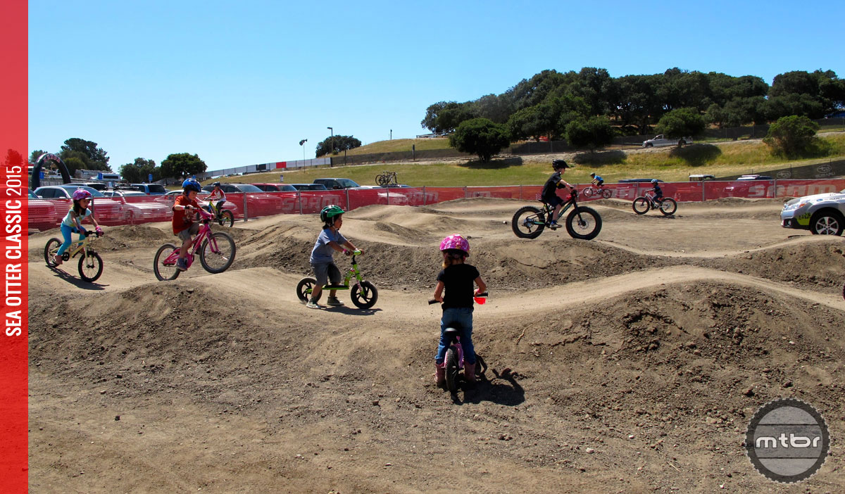 Smiles for miles at the kids' pump track hosted by Specialized. Visitors could test a new bike, or enjoy a few laps on the one they brought.