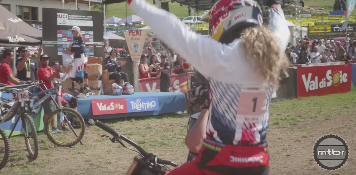 After an undefeated year of World Cup DH racing, Rachel Atherton capped off her season by winning World Championships.