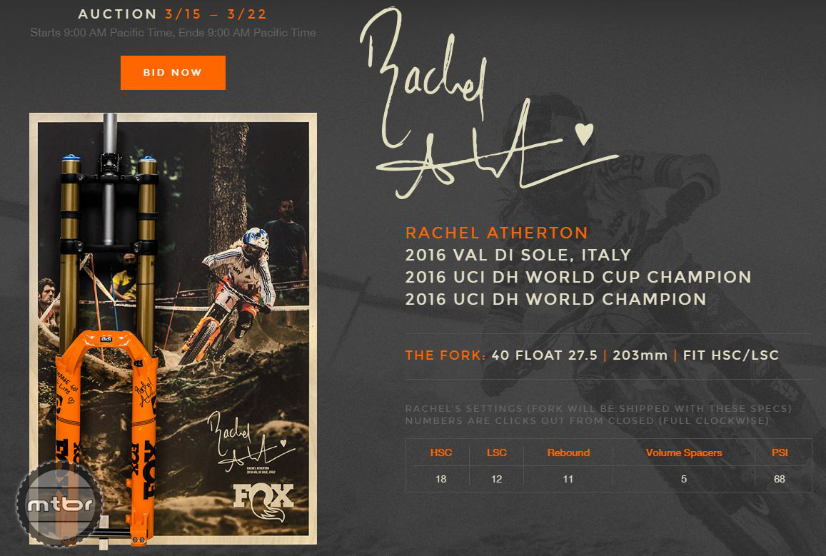 Rachel Atherton Fox 40 Orange Auction Details