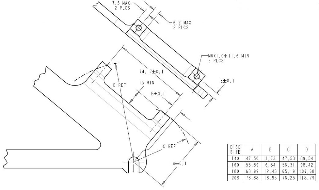 Bike Disc Brake Caliper Mount Adapter IS Front 203//180//160mm Rear 180//160//140mm