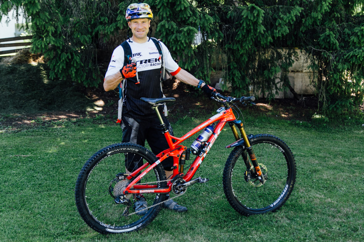 René races the EWS aboard a Trek Slash, which he helped design.