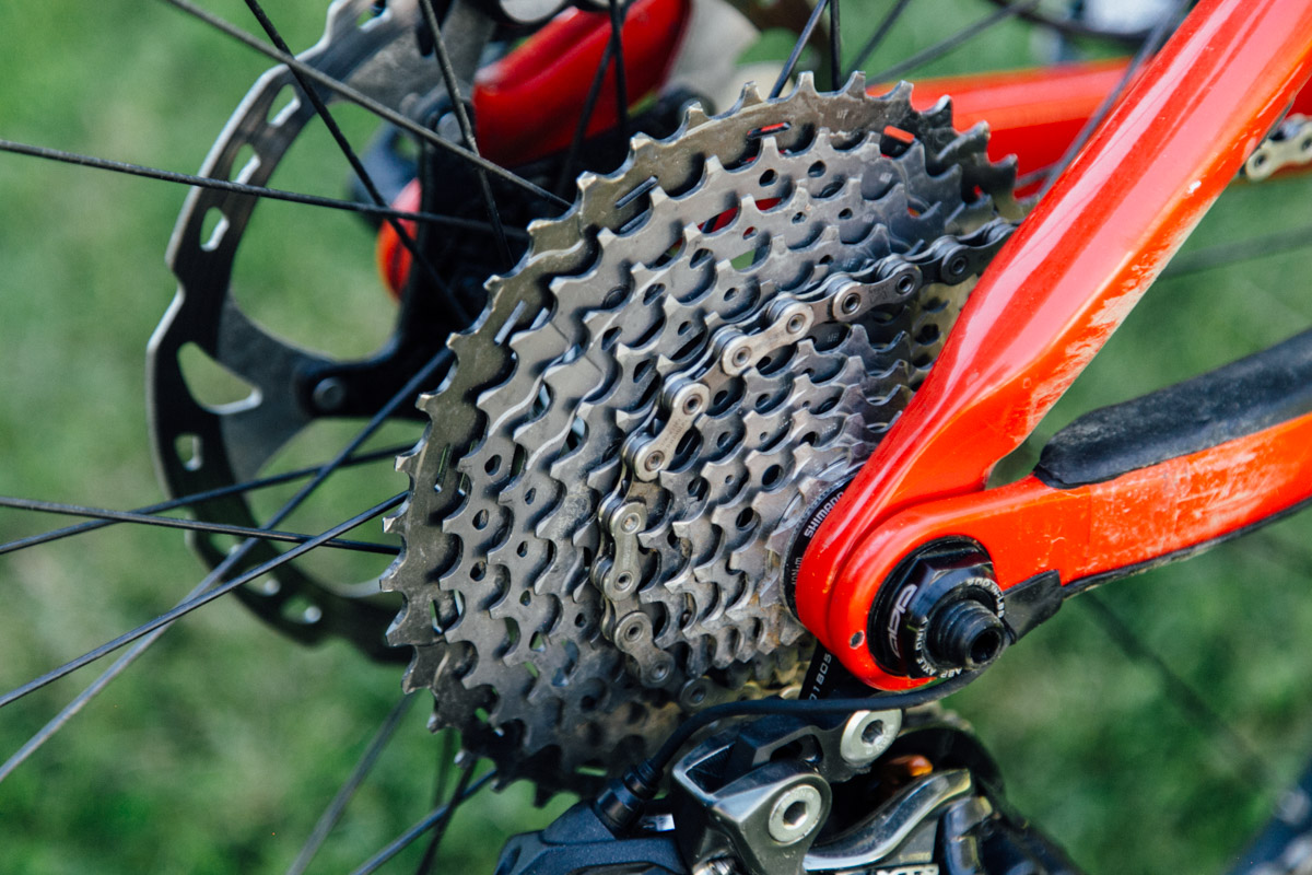 The Shimano 11-speed cassette has a 42T cog, while the XTR model tops out at 40T.