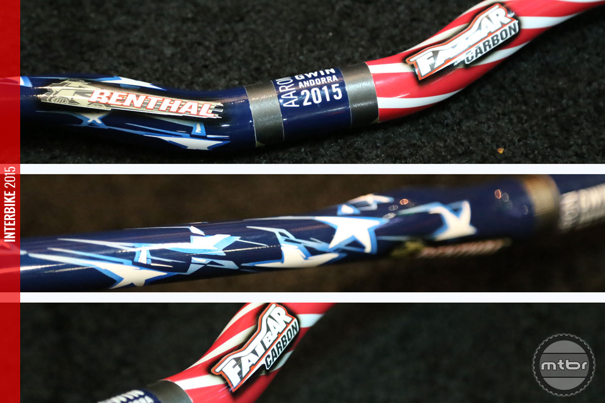 Aaron's handlebars were custom painted to match his Star Spangled Specialized Demo.