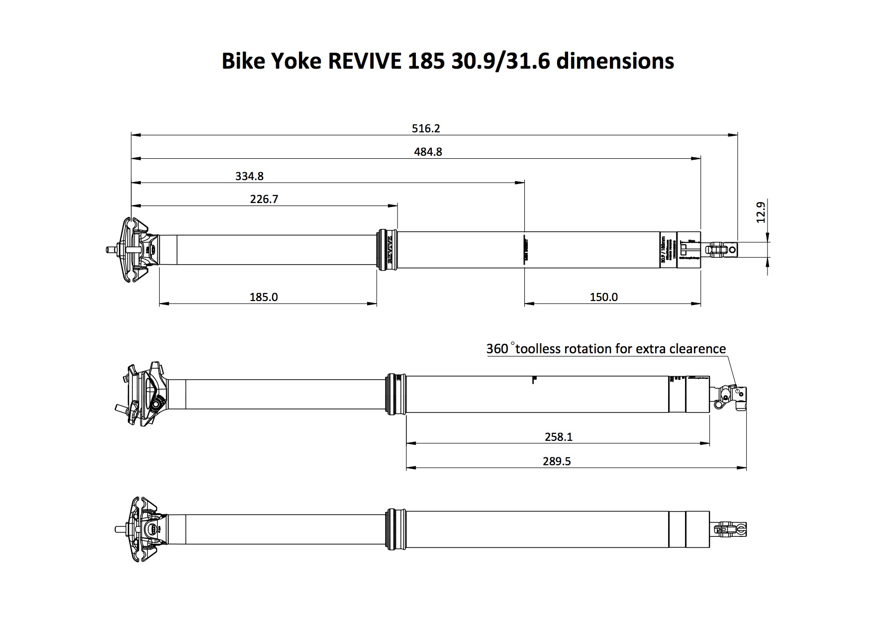 BikeYoke REVIVE 185mm Dropper Post