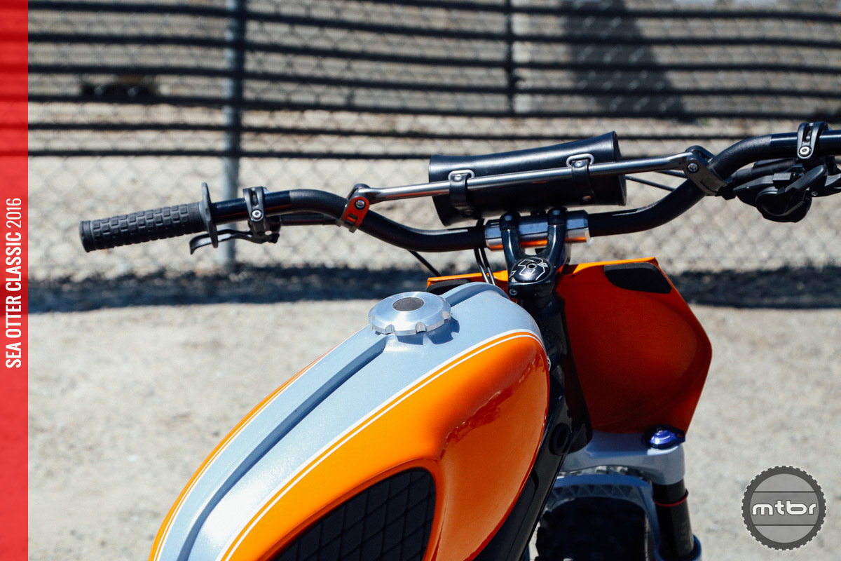 Custom spacers allow the scrambler to use moto bars.