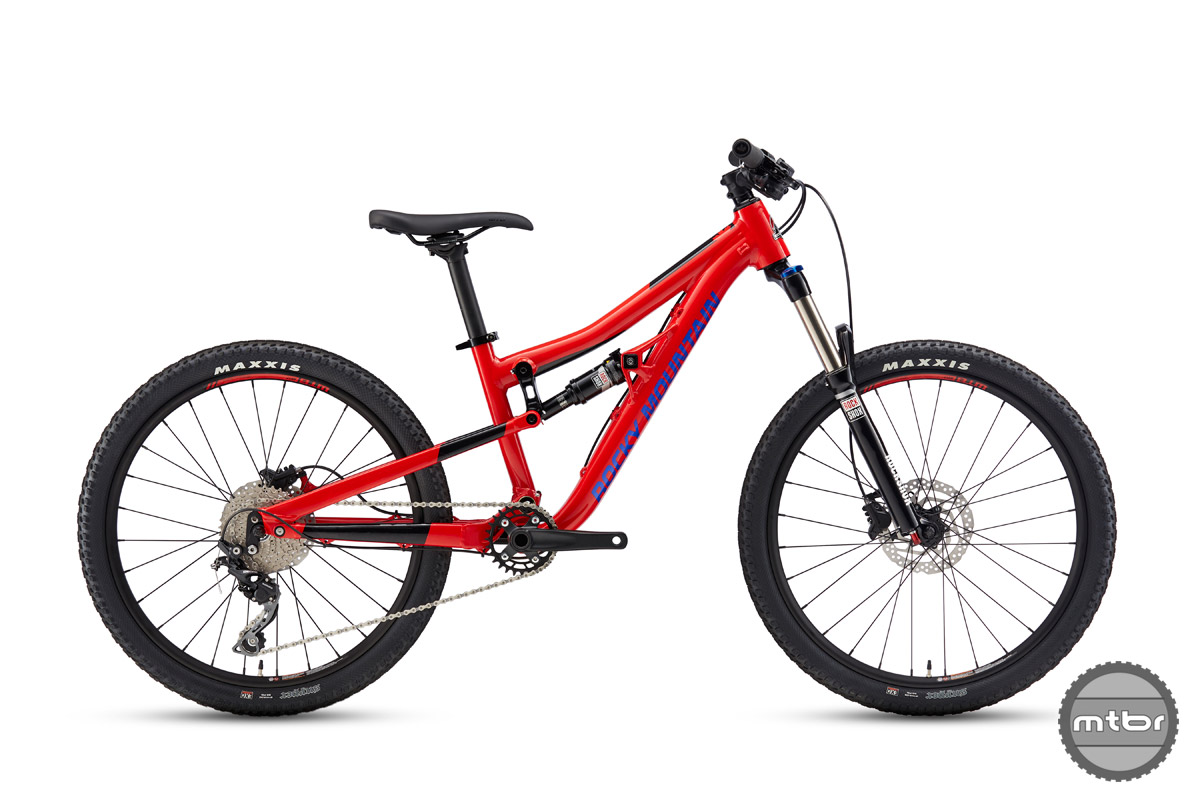 """The Reaper 24"""" ships with a RockShox Recon Fork, Monarch shock, and Shimano brakes and drivetrain."""