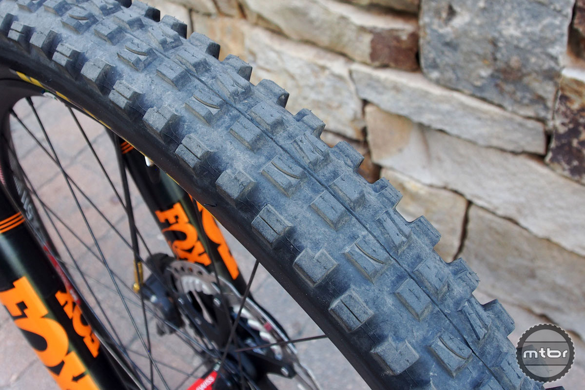 For tires, Rude runs the Maxxis Aggressor in the back (30-31psi) and a Maxxis Minion DHF up front (27psi). Hughes says that if Rude is protecting a lead, or really needs to push hard on the final stage of an event, they'll sometimes swap on a Maxxis Griffin DH tire on the rear for a little extra flat protection.