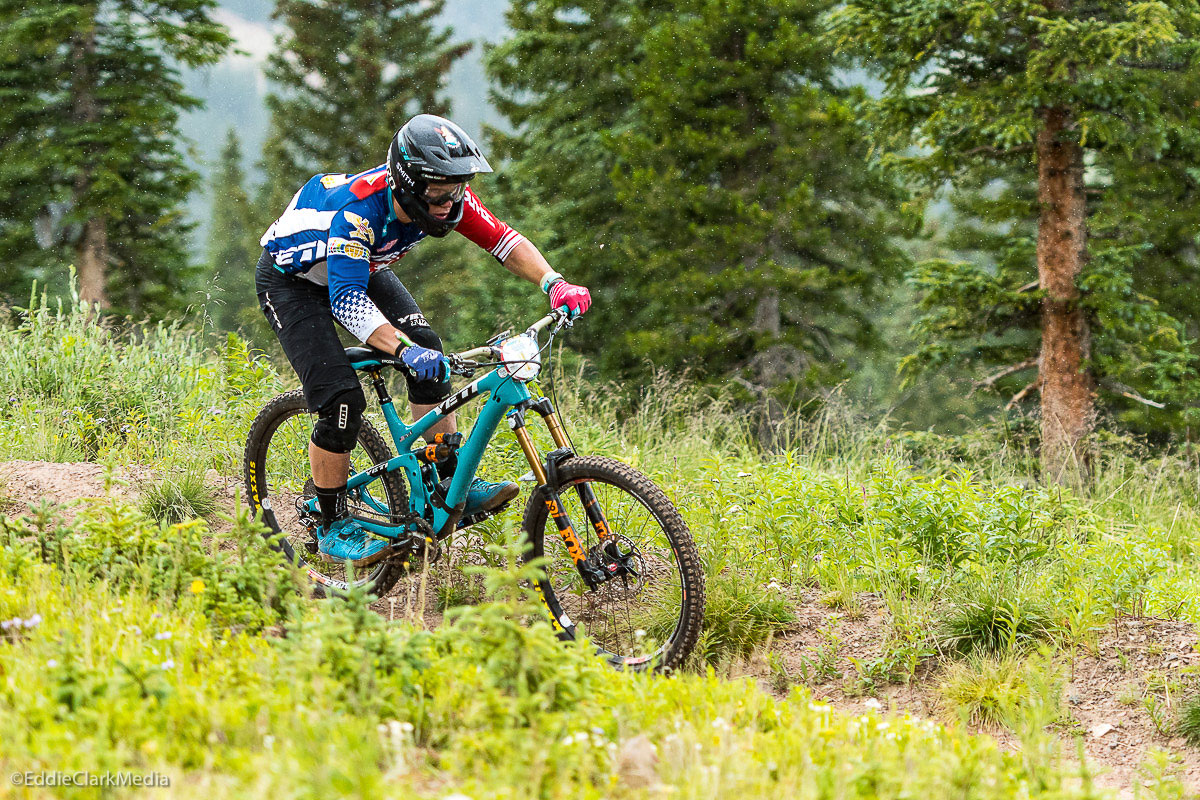 Despite a hard crash in practice, Rude still managed a 25th place finish at the Aspen-Snowmass round of the EWS. Photo by Eddie Clark