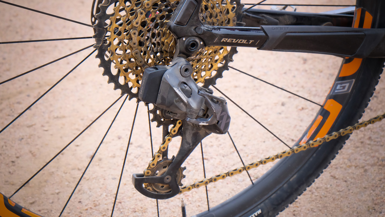 In back, Rusch's 10-50 SRAM Eagle cassette is managed by a well-worn eTap AXS derailleur.