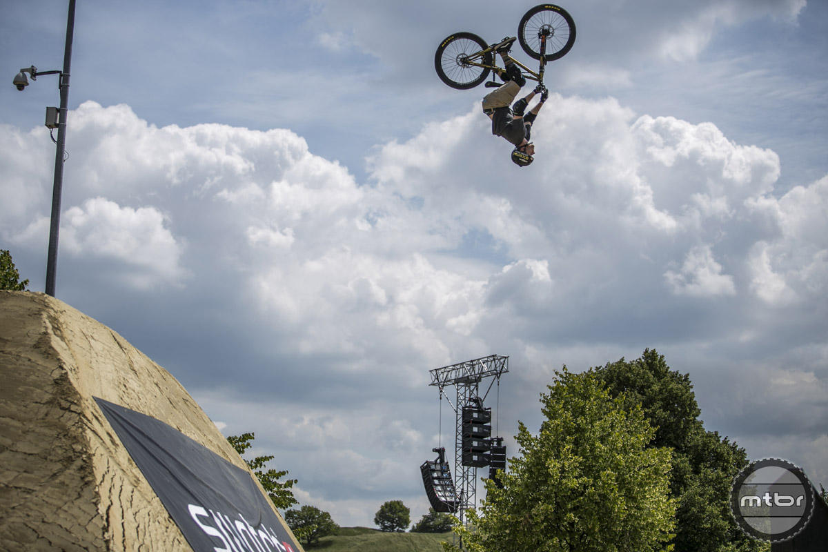 Ryan Nyquist rides for Haro's MTB team, busts a back flip. (photo by: RichKPhotography)