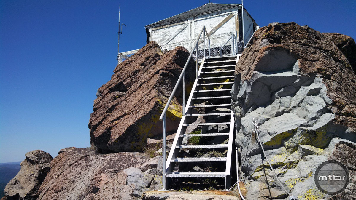 The lookout tower at the top of the 6,700-foot high Sadddleback Mountain.