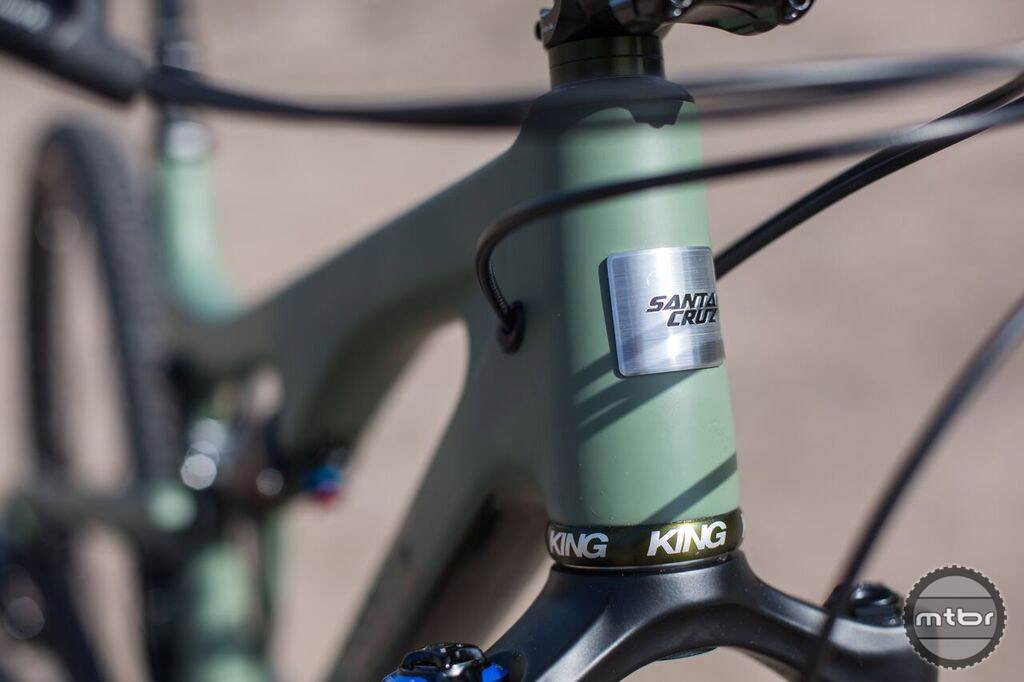 The CK edition Santa Cruz features a half dozen different Chris King components in a olive crate brushed color.