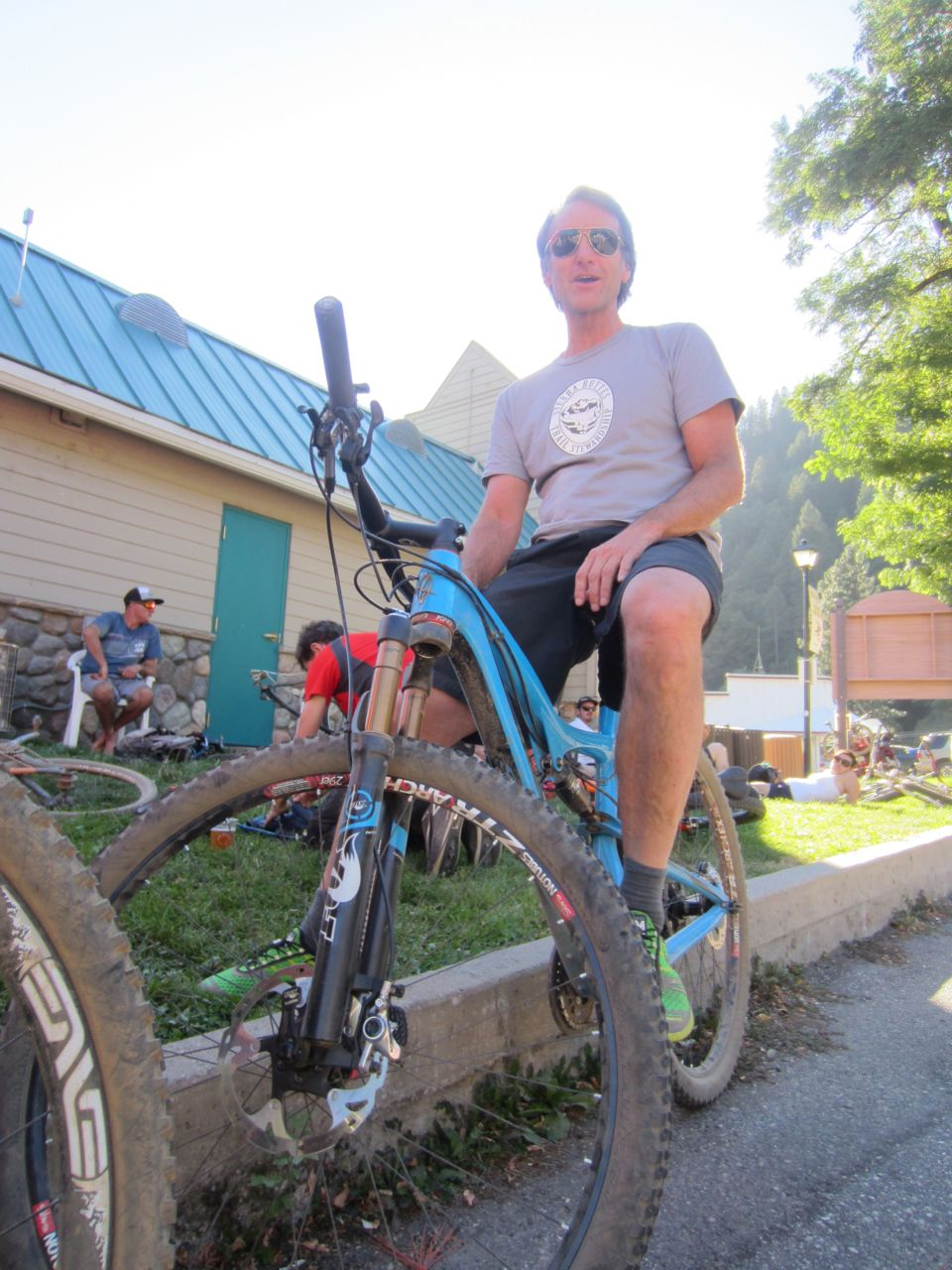 Scot Nicol of Ibis enjoying every minute of his time in Downieville. Ibis is a huge supporter of the race and the Sierra Buttes Trail Stewardship.