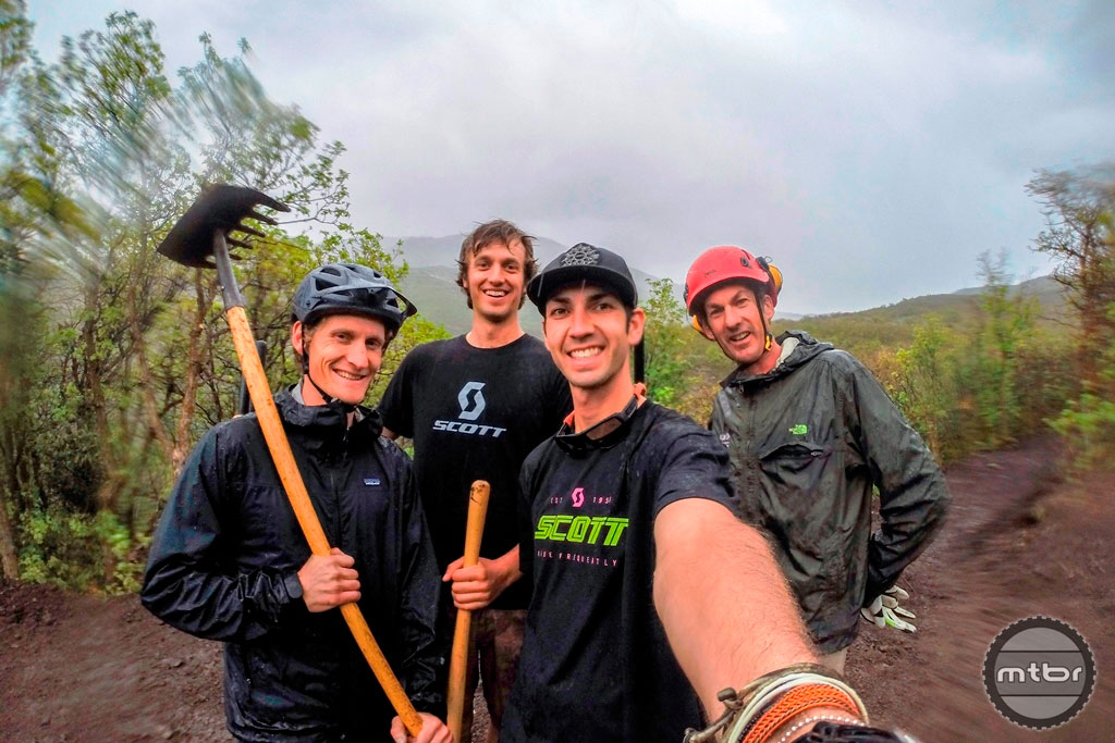 SCOTT staffers Scott Stack, Sasha Yakovlev, and Nick Hansen (from left) pose for a photo with Trail Specialist Joey Klein (right).  Photo by Nick Hansen/SCOTT