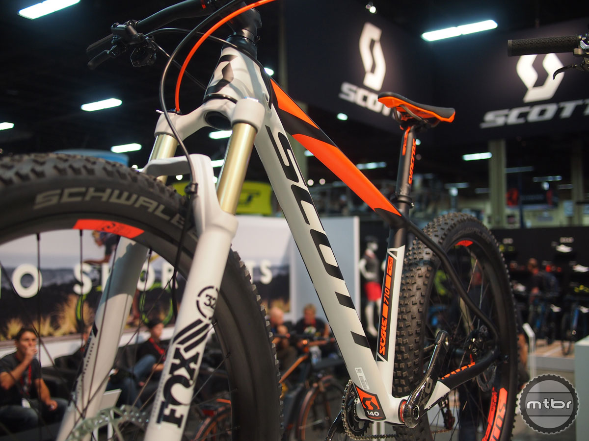 Featured here is the Scott Scale 710 Plus, an alloy hardtail with a Scott's custom butted superlight tubing.