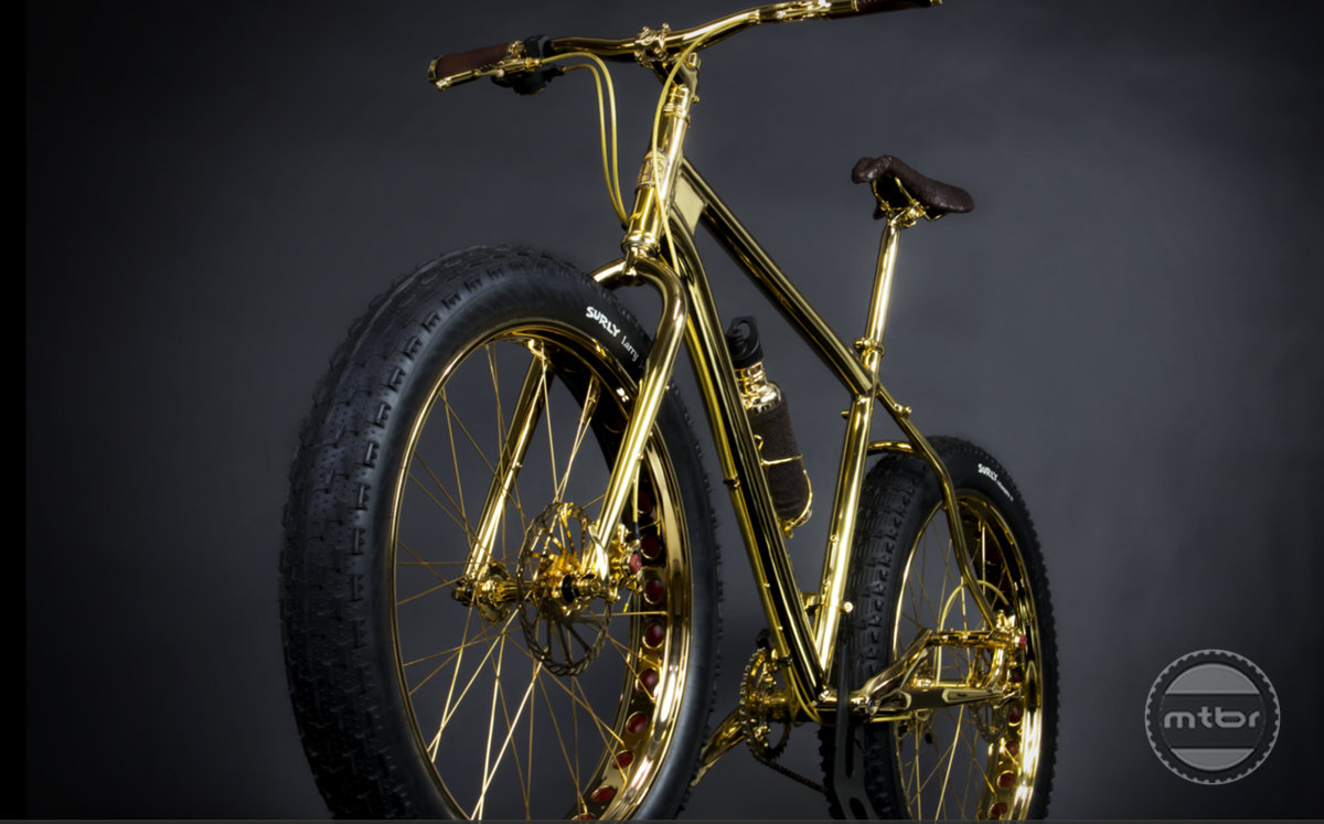 Gold Fat Bike front quarter