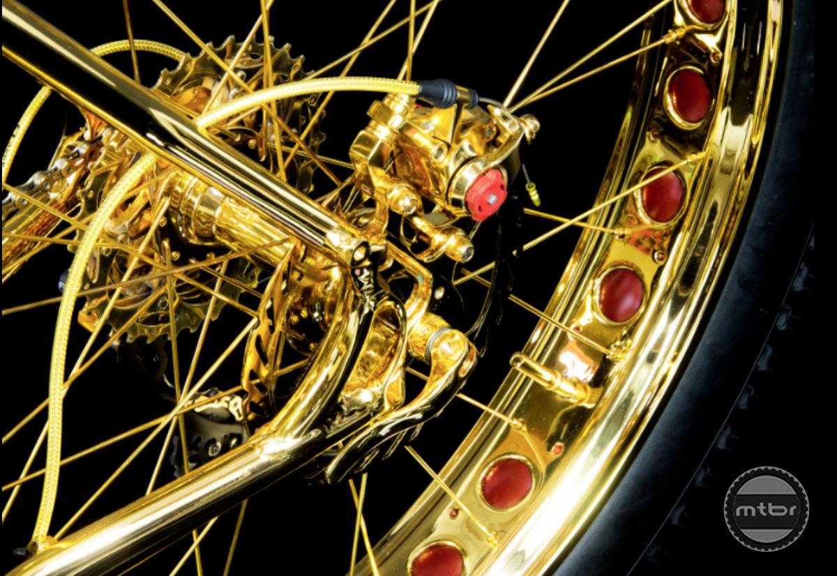 Gold Fat Bike rear wheel