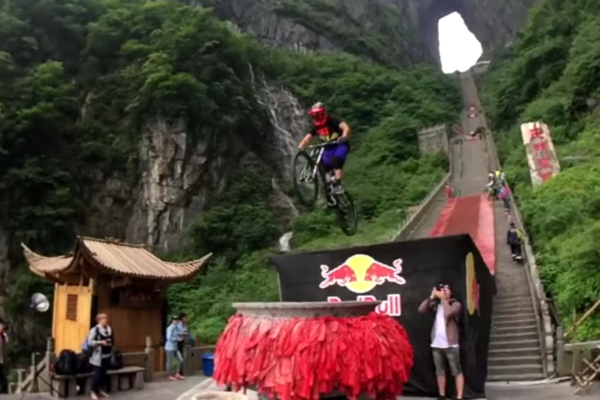 Andrew Taylor jumps the final stunt in the Red Bull Sky Gate descent.