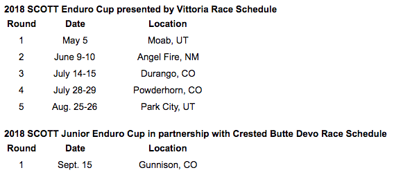 2018 Scott Enduro Cup Schedule