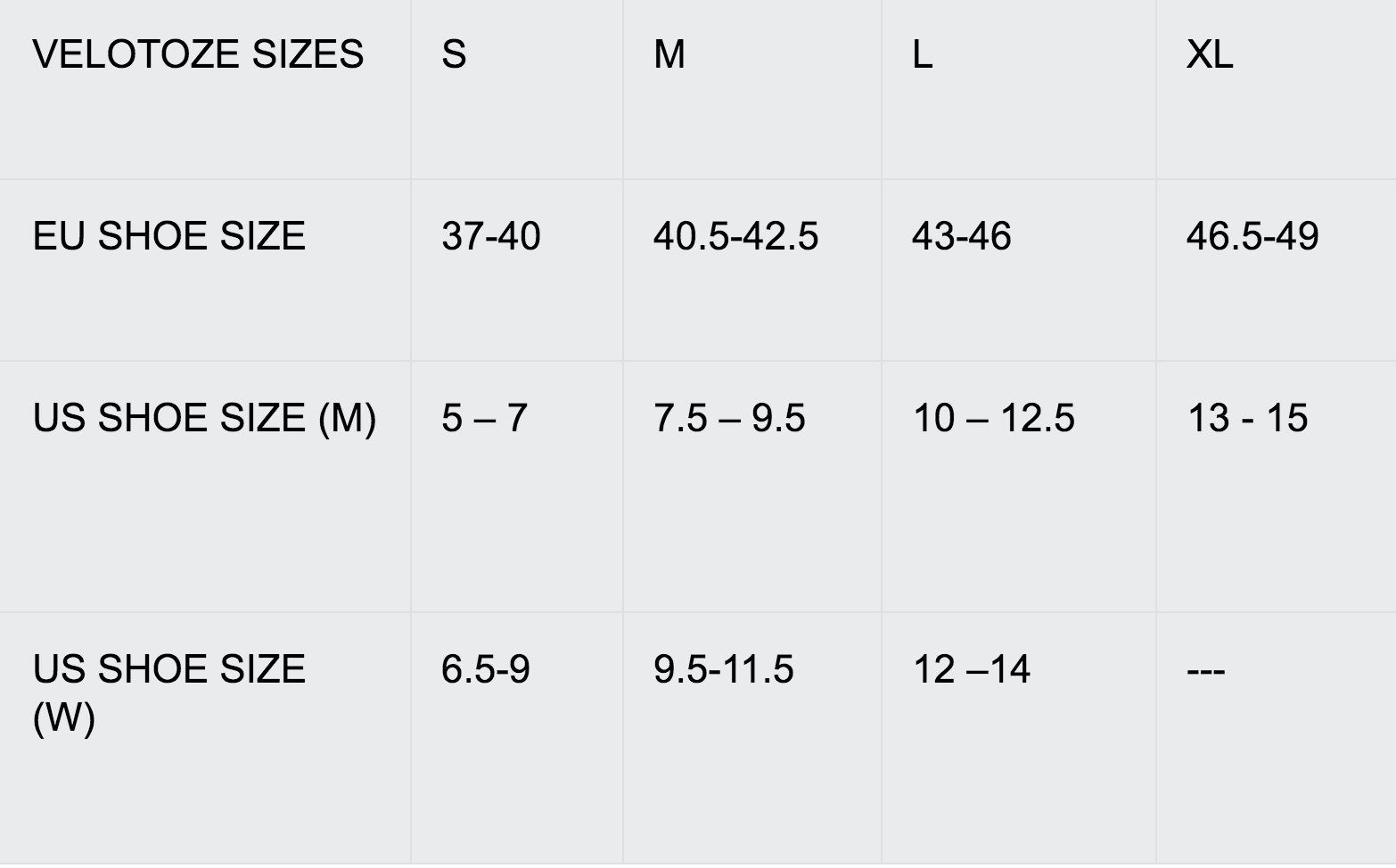 VeloToze Sizes