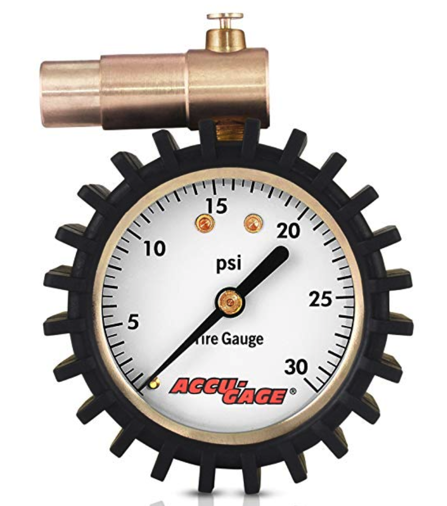 Meiser Presta-Valve Dial Gauge with Pressure Relief 30psi