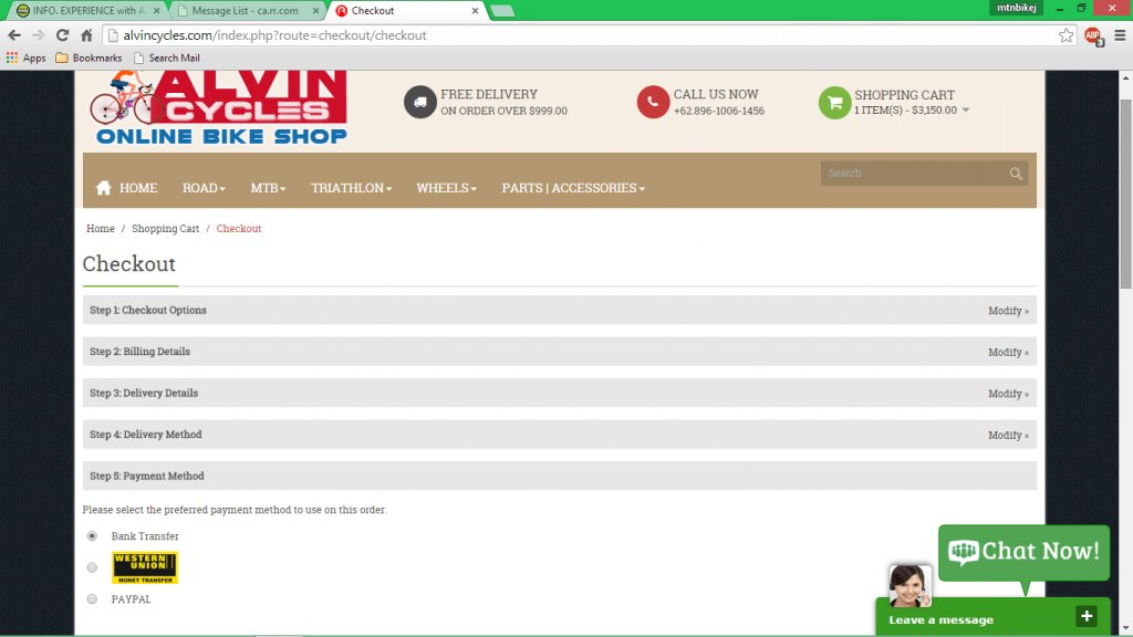 www alvincycles com, www indobikesport com are scammer websites