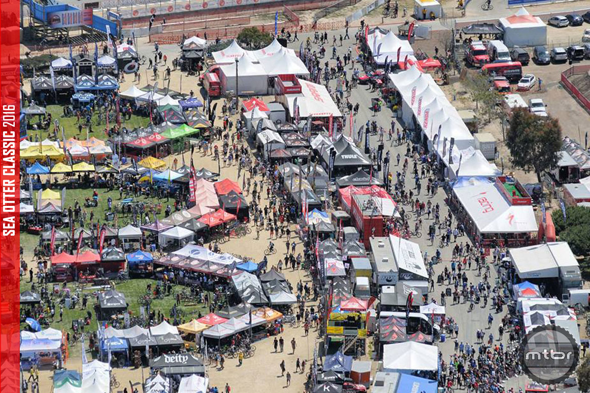 An overhead shot of the Sea Otter Classic expo area. Photo courtesy of Sea Otter Classic.