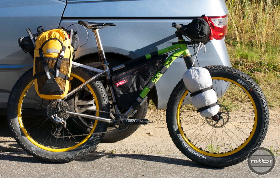 Bike setup #1: Osprey Packs Escapist 20 backpack, Everything Bags, handlebar roll, frame bag, panniers and trunk bag on rear rack.