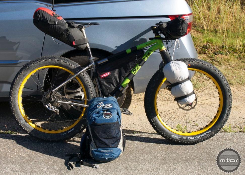 Bike setup #2: Everything Bags, handlebar roll, frame bag, seat pack, backpack. Bike setup #3: Everything Bags, handlebar roll, frame bag, seat pack, backpack. Bike setup #4: Frame bag, seat pack, backpack.