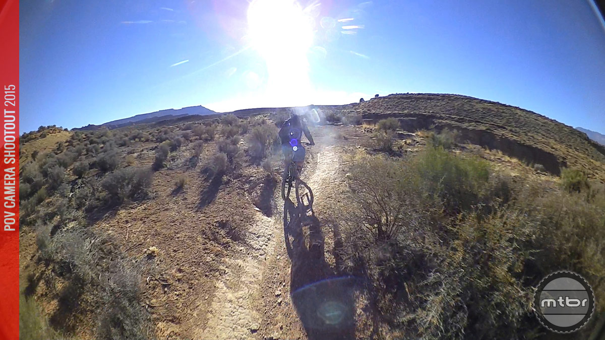 A frame grab showing sun flare from the Shimano Sport Camera's 180° lens.