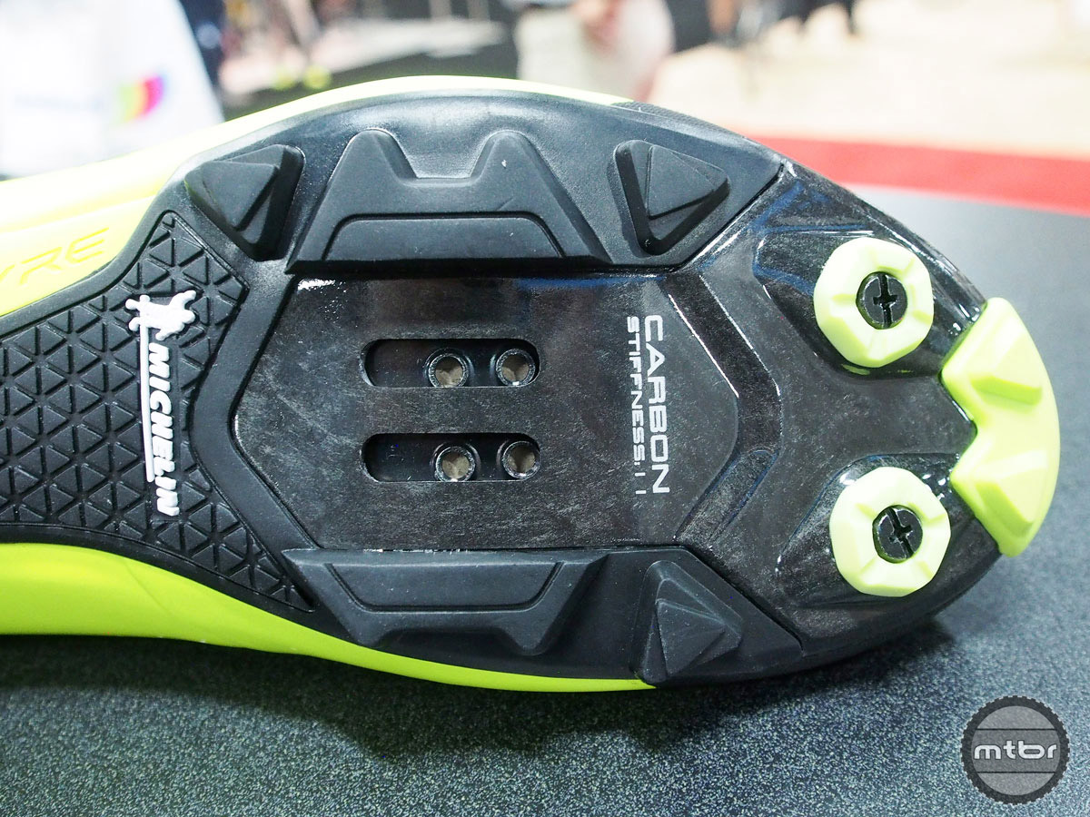 The outsole is made by rubber experts Michelin, and it has a reinforced spike mounting area.
