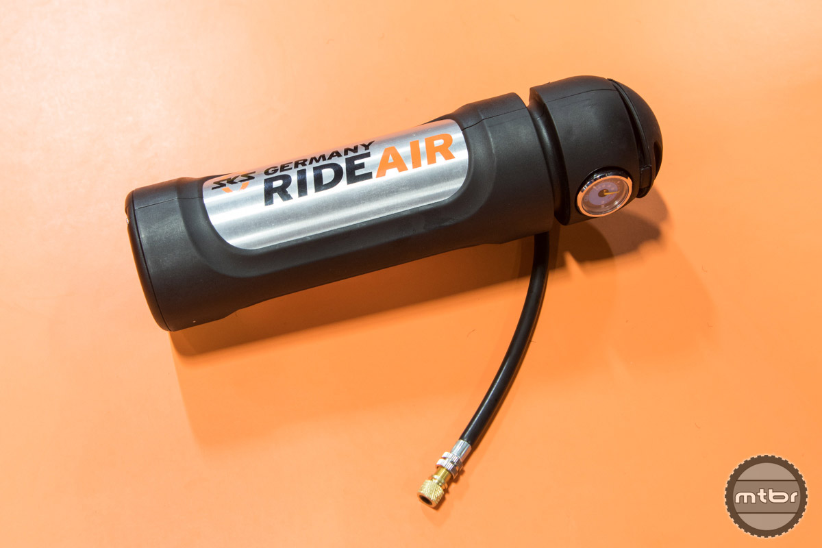 The RideAir is an air canister that can be filled by use of a standard floor pump and used to seat tubeless tires with its consistent flow of air.  It can also be easily transported and used in place of CO2 systems as it is more environmentally friendly and can be refilled. $70