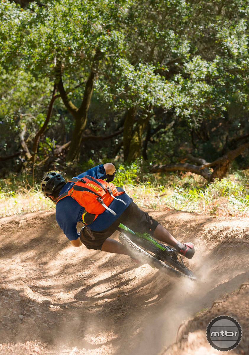Keeping weight low helps you blast through berms.