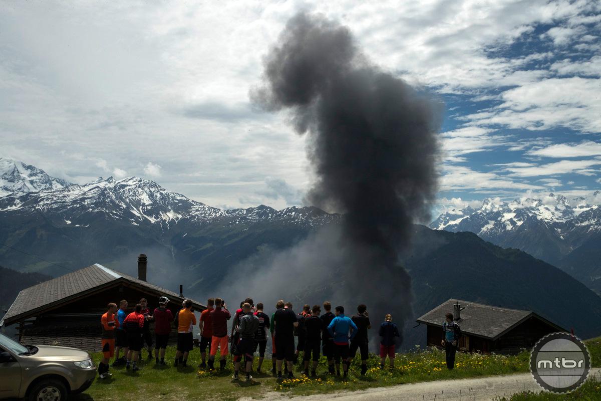 Trek Re:aktiv Thru Shaft on Fuel EX 29er descending in Verbier, Switzerland.