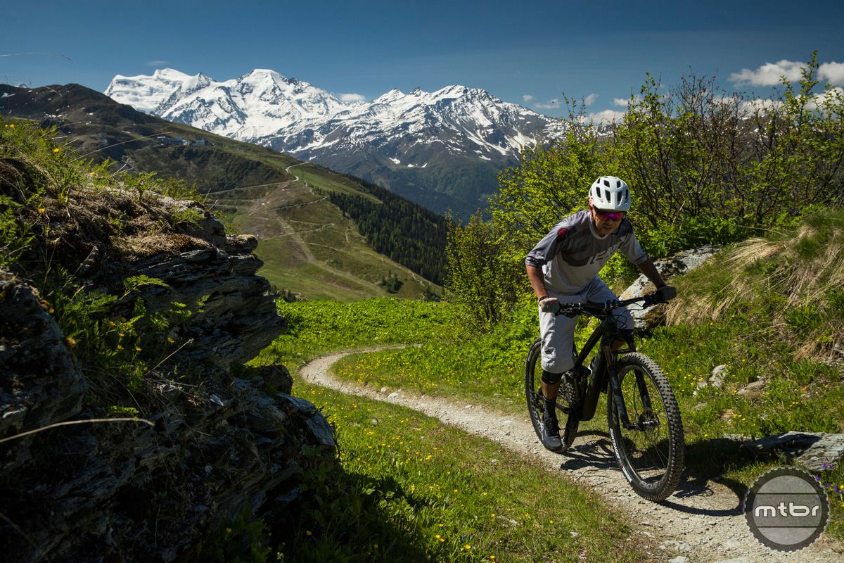 Trek Re:aktiv Thru Shaft on Fuel EX 29er climbing in Verbier, Switzerland