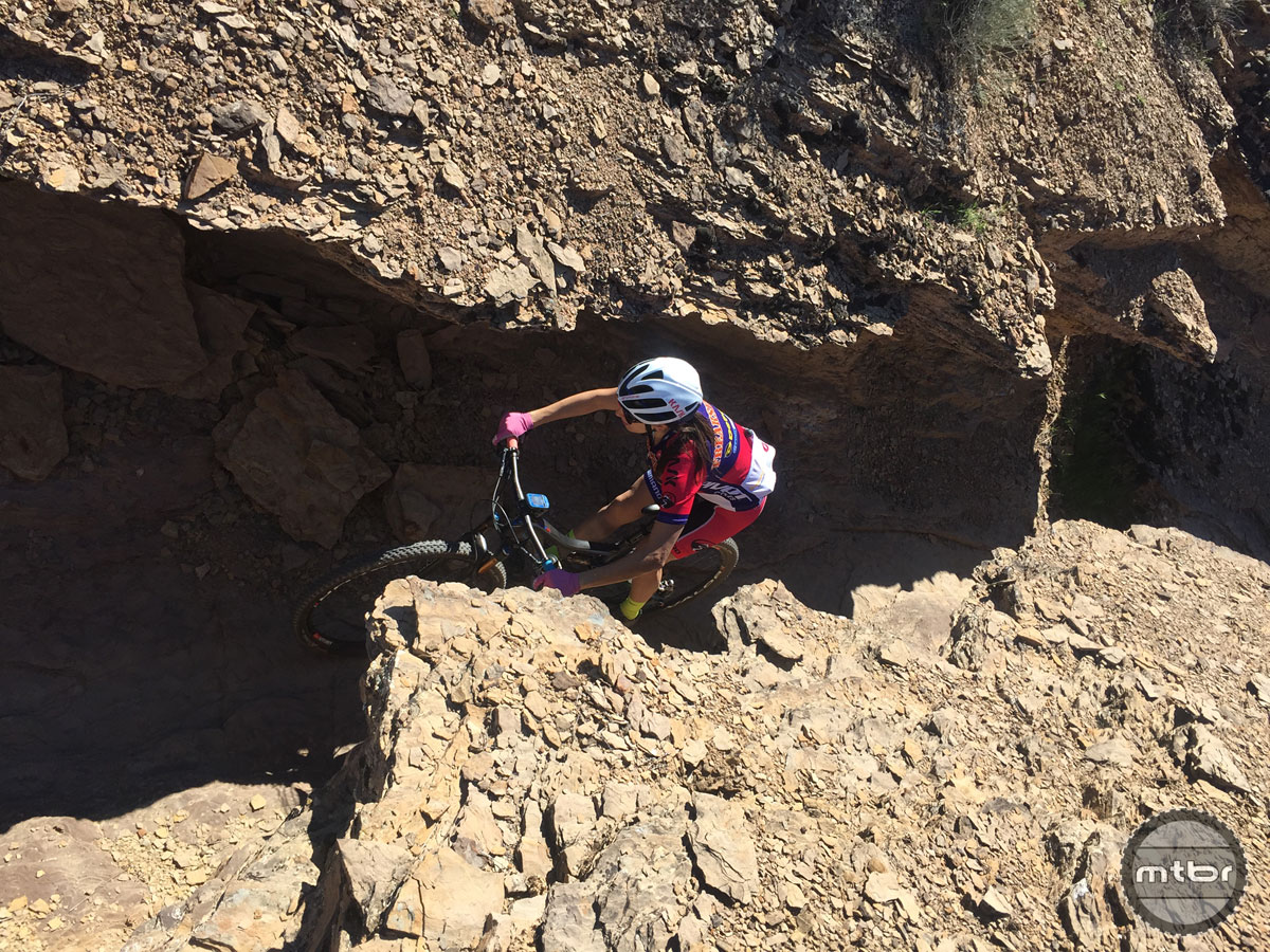 The course featured sections that kept riders alert with crevices, cliffs, and rock drops.
