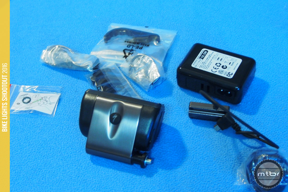 Specialized Flux Expert accessories and included USB charger
