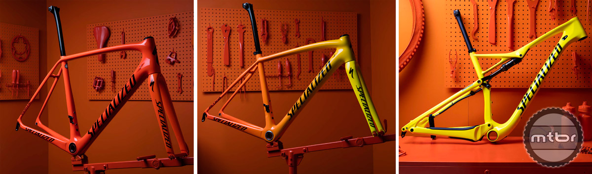 The Specialized Epic-FSR, Tarmac, and Amira all receive the heat sensitive color changing treatment.