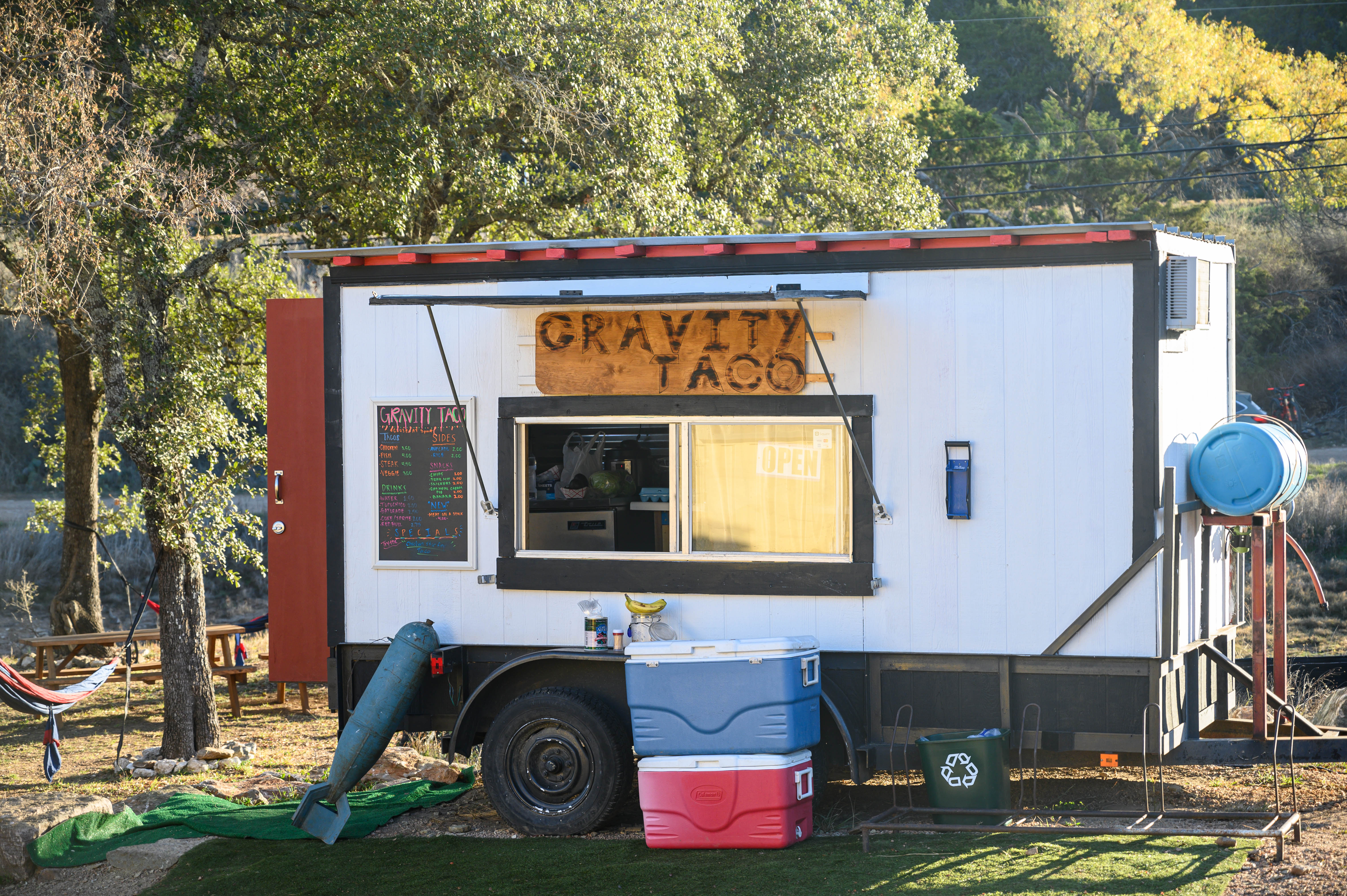 Gravity Taco may be the only food option, but luckily it's on par with the Texas food truck taco scene. Look for original taco specials like the Chow Mein Chicken tacos we had, which were good enough to opt for the following day, too.