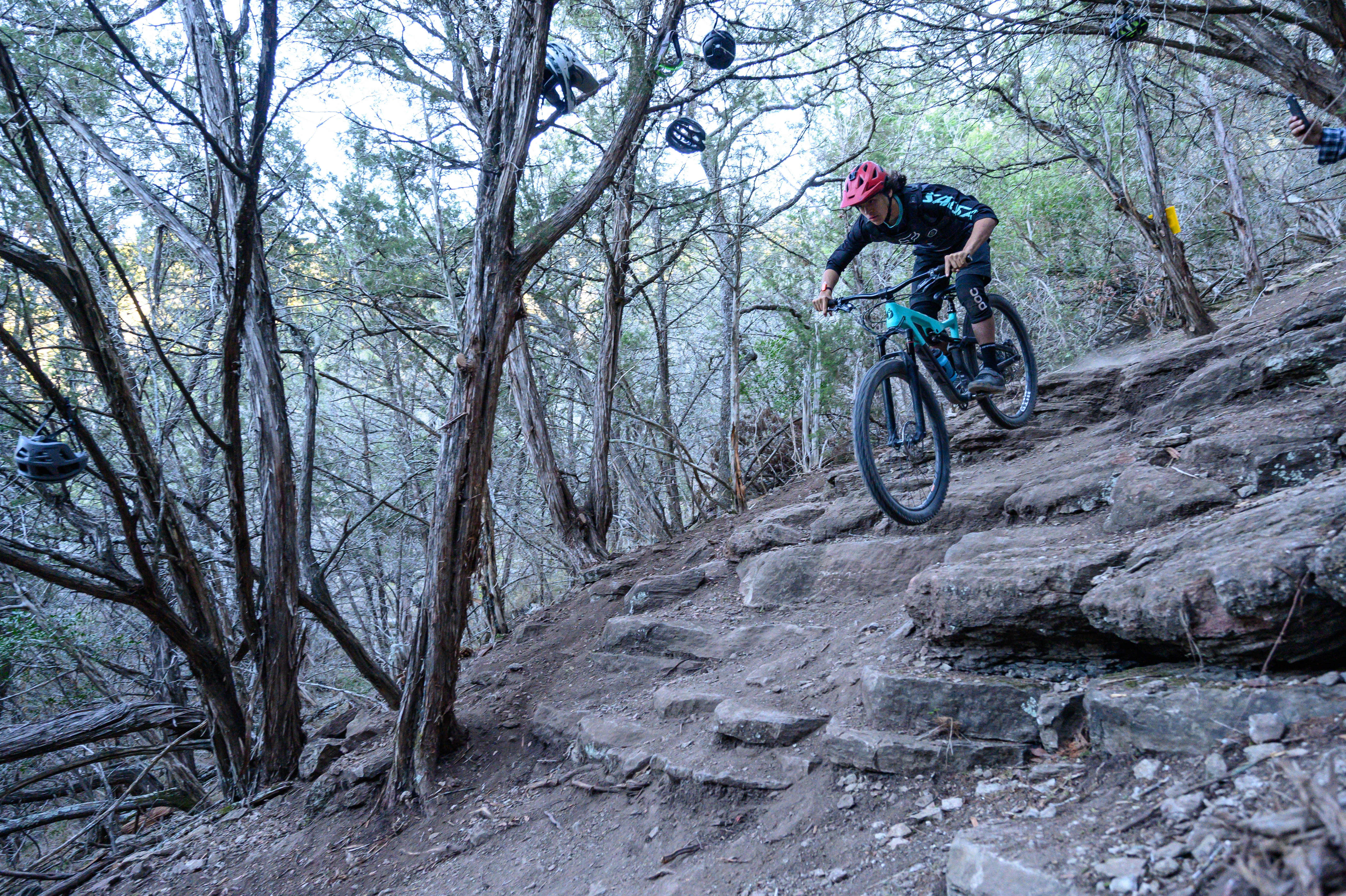 "Local pro rider and Salsa R&D mule, Javier ""Javie"" Zuniga, dropping his way into 3rd place overall on Stinger trail. When not out ripping laps, he can often be found working in the little bike shop, or helping his mom sell some amazing tamales at events."